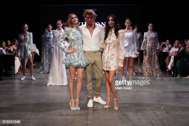Victoria Lee Jordan Barrett and Jessica Gomes walk the runway after wearing designs by Zimmerman at the David Jones Autumn Winter 2018 Collections...