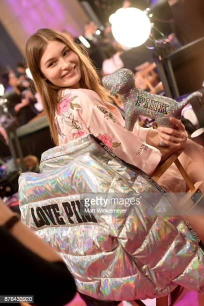 Victoria Lee prepares in Hair Makeup during 2017 Victoria's Secret Fashion Show In Shanghai at MercedesBenz Arena on November 20 2017 in Shanghai...