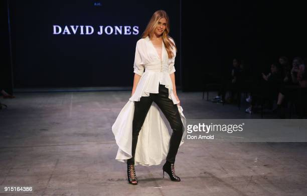Victoria Lee showcases designs by AJE during the media rehearsal ahead of the David Jones Autumn Winter 2018 Collections Launch at Australian...