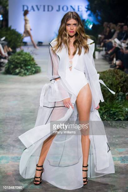 Victoria Lee showcases designs by Jets designs during the David Jones Spring Summer 18 Collections Launch at Fox Studios on August 8 2018 in Sydney...