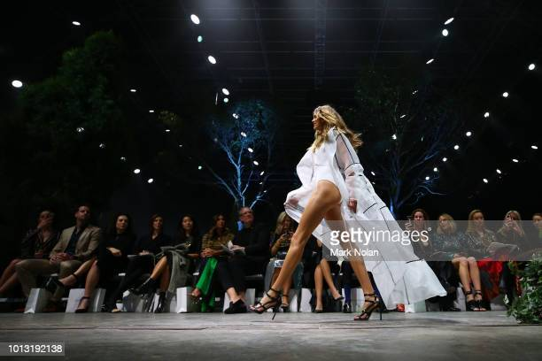 Victoria Lee showcases designs by Jets during the David Jones Spring Summer 18 Collections Launch at Fox Studios on August 8 2018 in Sydney Australia
