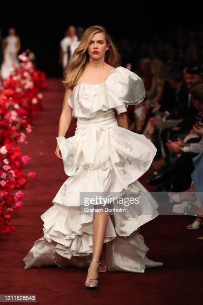 Victoria Lee walks the runway in a design by Toni Maticevski during the Gala Runway 1 show at Melbourne Fashion Festival on March 10 2020 in...