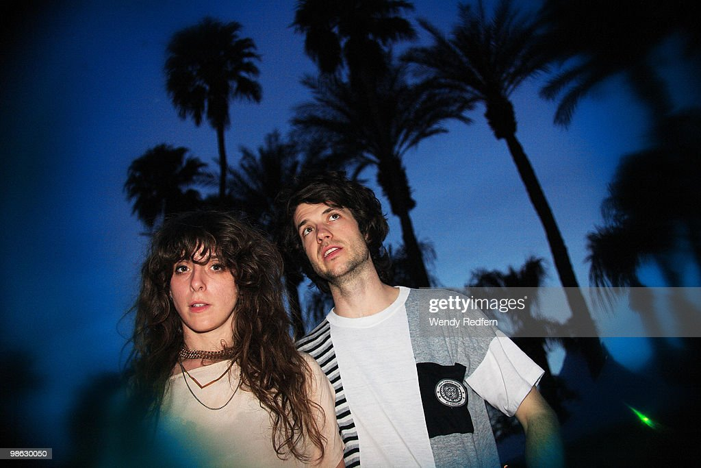Victoria Legrand and Alex Scally of Beach House pose backstage on day 2 of Coachella Valley Music & Arts Festival 2010 on April 17, 2010 in Coachella, California.