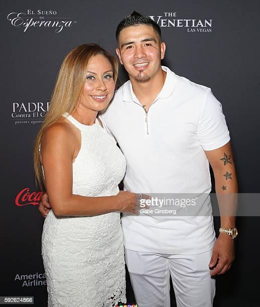 "Victoria Lopez Rios and her husband, professional boxer Brandon Rios, attend the Padres Contra El Cancer's 16th annual ""El Sueno de Esperanza""..."