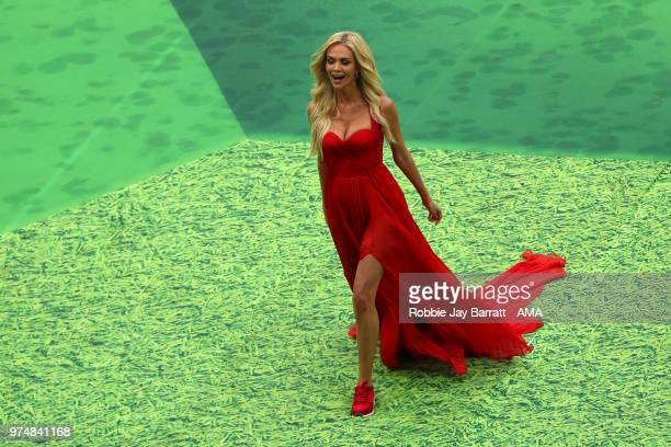 Victoria Lopyreva Ambassador of The World Cup Russia 2018 walks at the opening ceremony during the 2018 FIFA World Cup Russia group A match between...