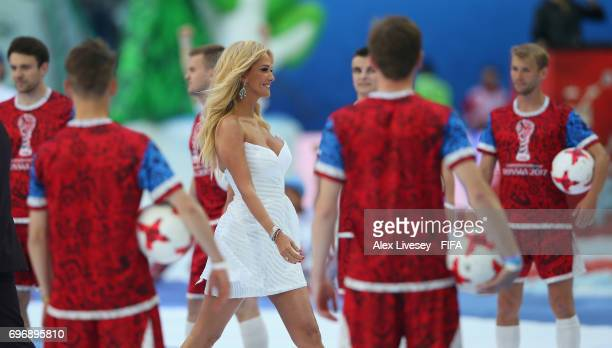 Victoria Lopyreva FIFA World Cup ambassador is seen during the opening ceremony prior to the FIFA Confederations Cup Russia 2017 Group A match...