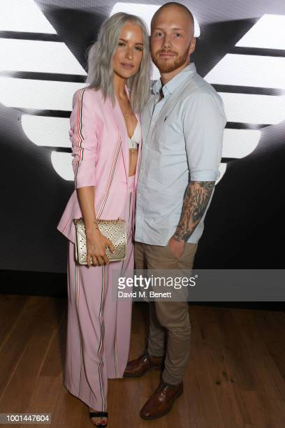Victoria Magrath and Alex Harrison attend the Emporio Armani Fragrance 'Stronger With You' party at Roast on July 18 2018 in London England