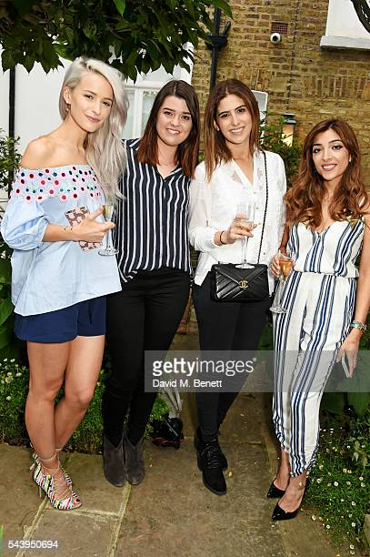 Victoria Magrath Anna Gardner Lily Pebbles and Amelia Liana attend an intimate dinner hosted by Tanya Burr to launch her first cookbook 'Tanya Bakes'...