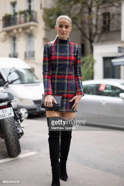 Victoria Magrath is seen attending Carven during Paris Fashion Week wearing Balmain Louis Vuitton Gianvito Rossi on September 28 2017 in Paris France