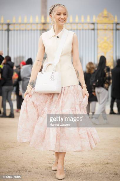 Victoria Magrath wearing Dior vest, Dior lady bag and Dior tulle skirt outside the Dior show as part of the Paris Fashion Week Womenswear Fall/Winter...