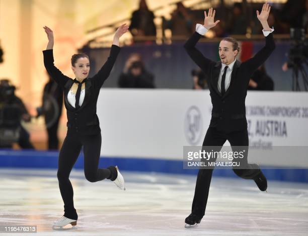 Victoria Manni and Carlo Roethlisberger of Switzerland perform in the pairs Ice Dance Rhythm Dance event of the ISU European Figure Skating...