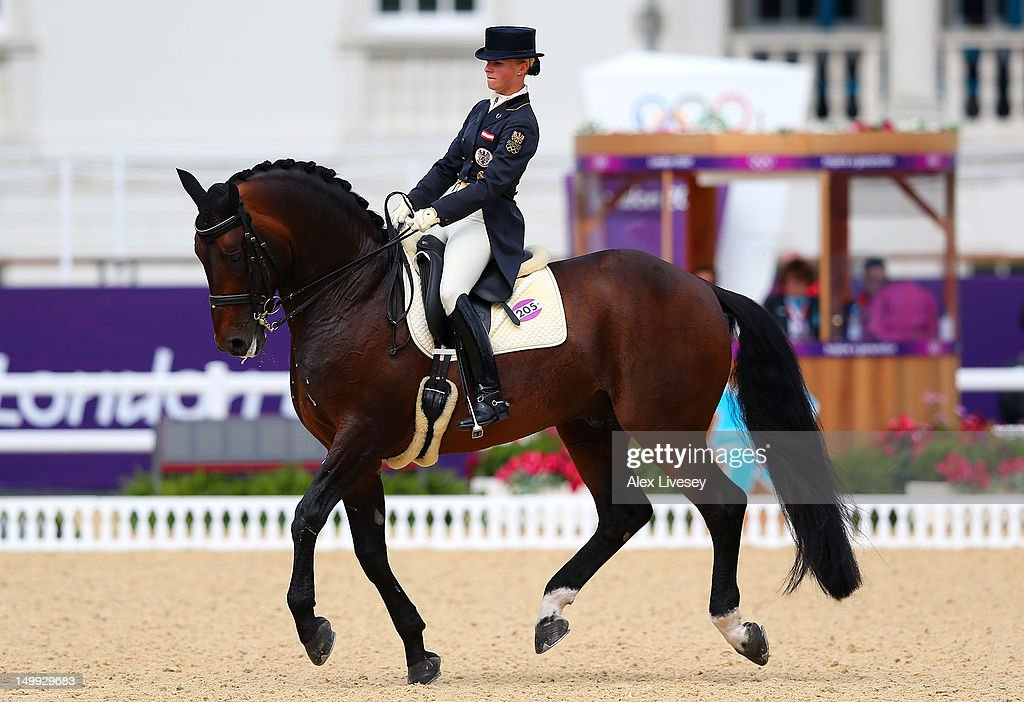 Victoria Max-Theurer of Austria riding Augustin competes in the Individual Dressage Grand Prix Special on Day 11 of the London 2012 Olympic Games at Greenwich Park on August 7, 2012 in London, England.