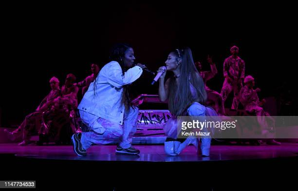 Victoria Monet and Ariana Grande perform onstage during Ariana Grande Sweetener World Tour at Staples Center on May 07 2019 in Los Angeles California