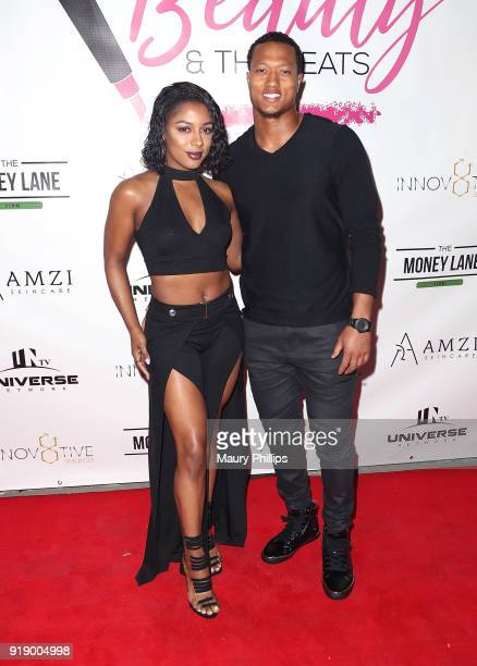 Victoria Monet and Isaiah Johnson attend the 2018 Beauty The Beats Celebrity Party and Panel Discussion at Dream Magic Studios on February 15 2018 in...