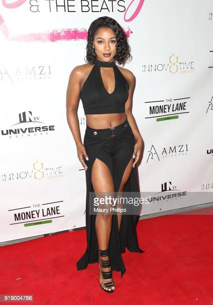 Victoria Monet attends the 2018 Beauty The Beats Celebrity Party and Panel Discussion at Dream Magic Studios on February 15 2018 in Canoga Park...