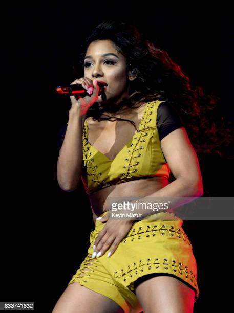 Victoria Monet performs on stage during Ariana Grande's Dangerous Woman Tour Opener at Talking Stick Resort Arena on February 3 2017 in Phoenix...