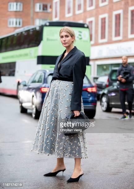Victoria Nasir is seen wearing high waist midi skirt, black blazer outside Saks Potts during Copenhagen Fashion Week Spring/Summer 2020 on August 08,...