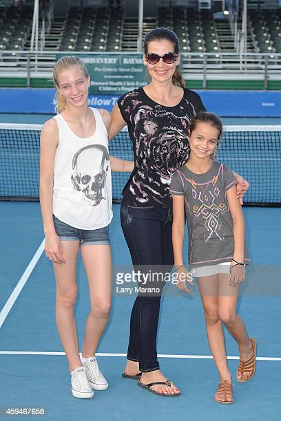 Victoria Navratilova Julia Lemigova and Emma Navratilova pose at the 25th Annual Chris Evert/Raymond James ProCelebrity Tennis Classic at Delray...