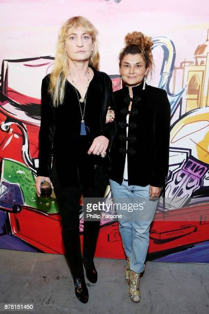 Victoria Niarchos and Paola Russo attend Christian Louboutin and Sabyasachi Unveil Capsule Collection at Just One Eye on November 16 2017 in Los...