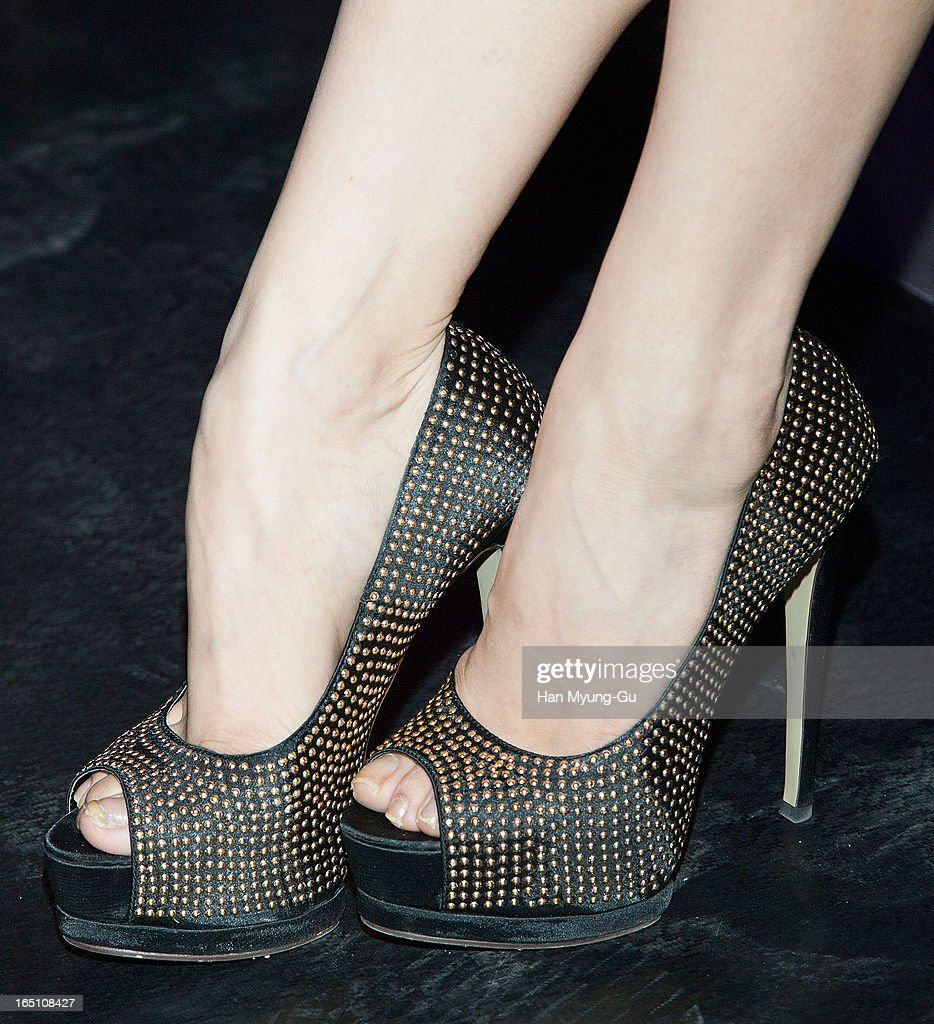 Victoria (shoe detail) of girl group f(x) attends the 'Jardin De Chouette' Collection on March 29, 2013 in Seoul, South Korea.