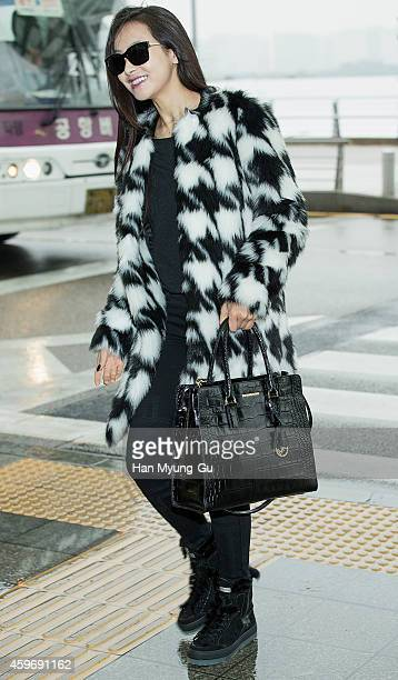 Victoria of girl group f is seen on departure at Incheon International Airport on November 28 2014 in Incheon South Korea