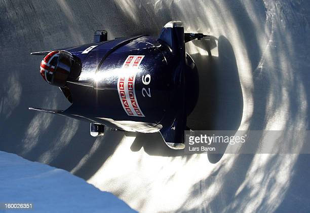Victoria Olaoye and Kelly Denyer of Great Britain compete during the Women's Bobsleigh heat 1 of the IBSF Bob & Skeleton World Championship at...