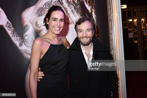 Victoria Olloqui and Jonathan Lambert attend The Hole' Show Party Hosted by Josy Foichat at Casino de Paris on January 14 2016 in Paris France