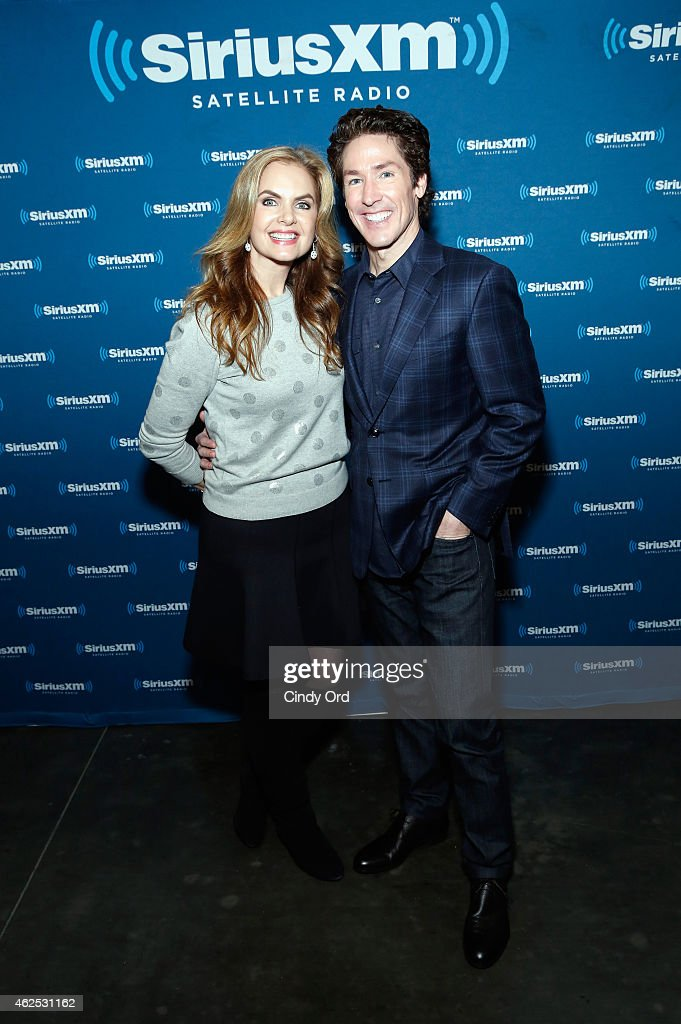 Victoria Osteen and preacher Joel Osteen attend SiriusXM at Super Bowl XLIX Radio Row at the Phoenix Convention Center on January 30, 2015 in Phoenix, Arizona.