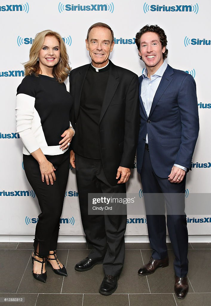 Joel And Victoria Osteen With Fr. Ed Leahy At SiriusXM : News Photo