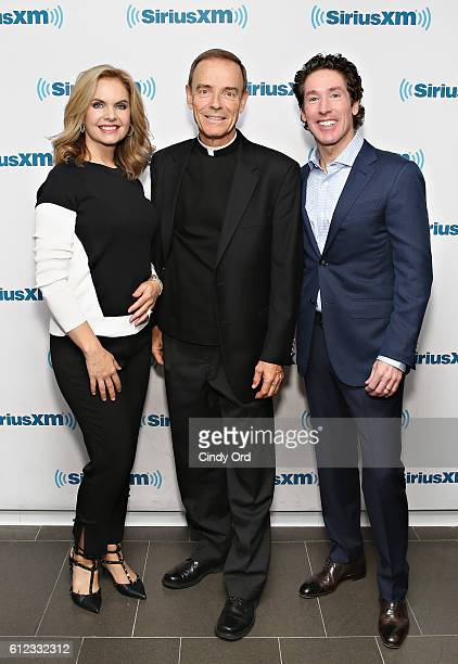 Victoria Osteen Fr Ed Leahy and Joel Osteen participate in 'Joel Osteen Live' featuring Joel and Victoria Osteen with special guests Fr Ed Leahy A J...