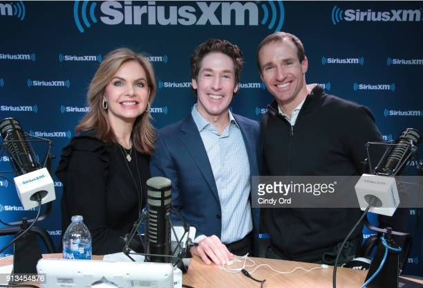 Victoria Osteen Joel Osteen and Drew Brees of the New Orleans Saints attend SiriusXM at Super Bowl LII Radio Row at the Mall of America on February 2...