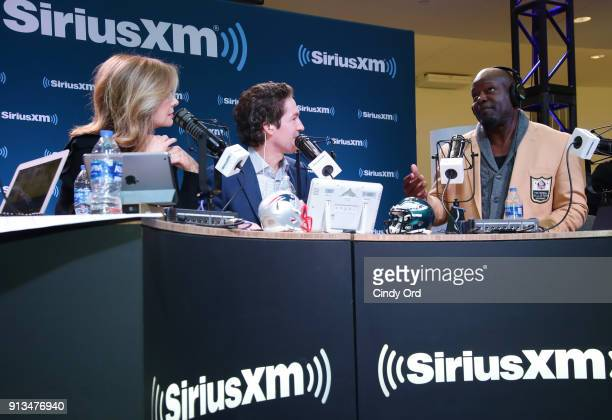 Victoria Osteen Joel Osteen and former NFL player and NFL Hall of Fame player Emmitt Smith attend SiriusXM at Super Bowl LII Radio Row at the Mall of...