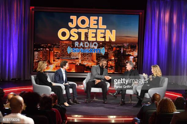 Victoria Osteen Joel Osteen Tyler Perry Matt Crouch and Laurie Crouch onstage during a SiriusXM 'Town Hall' event hosted by Joel Victoria Osteen at...