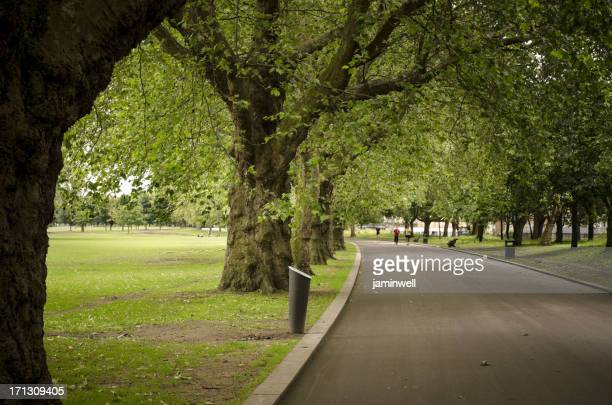 Victoria Park and distant joggers east london