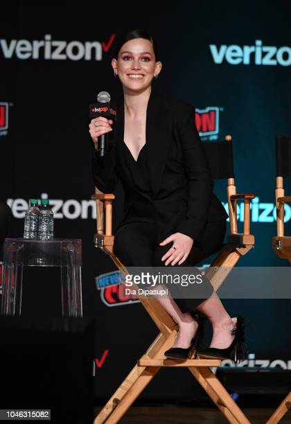 Victoria Pedretti speaks onstage at the Netflix Chills panel during New York Comic Con 2018 at Jacob K Javits Convention Center on October 5 2018 in...