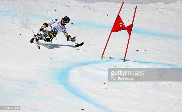 Victoria Pendergast of Australia competes in the Women's Giant Slalom Sitting during day nine of the Sochi 2014 Paralympic Winter Games at Rosa...