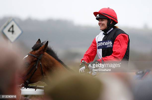 Victoria Pendleton after riding Pacha Du Polder to win The Betfair Swithching Saddles Hunters' Steeple Chase at Wincanton racecourse on March 02 2016...