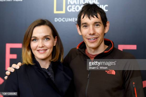 Victoria Pendleton and Alex Honnold attend the National Geographic's gala screening of Free Solo at BFI Southbank on December 11 2018 in London...