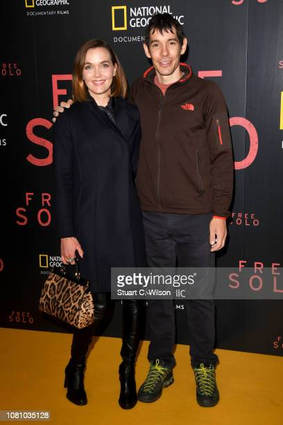 Victoria Pendleton and Alex Honnold attend the National Geographic's gala screening of 'Free Solo' at BFI Southbank on December 11 2018 in London...