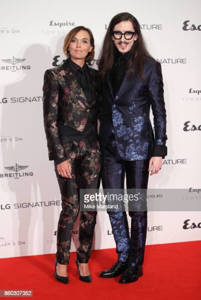 Victoria Pendleton and Joshua Kane attend the Esquire Townhouse with Dior party at No 11 Carlton House Terrace on October 11 2017 in London England