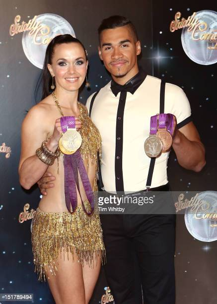 Victoria Pendleton and Louis Smith attend the launch of Strictly Come Dancing 2012 at BBC Television Centre on September 11 2012 in London England