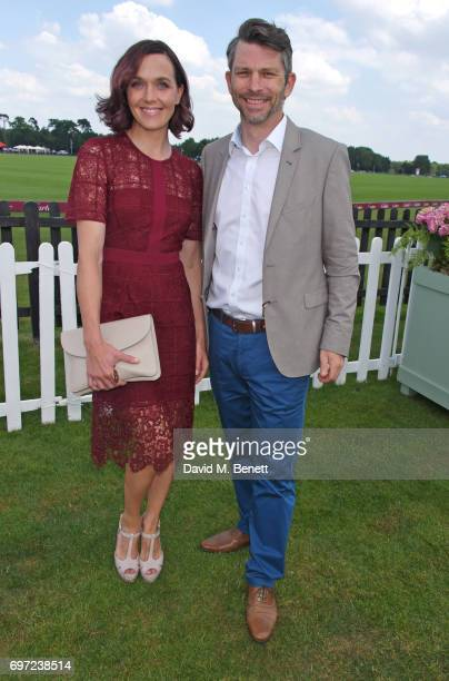 Victoria Pendleton and Scott Gardner attend the Cartier Queen's Cup Polo final at Guards Polo Club on June 18 2017 in Egham England