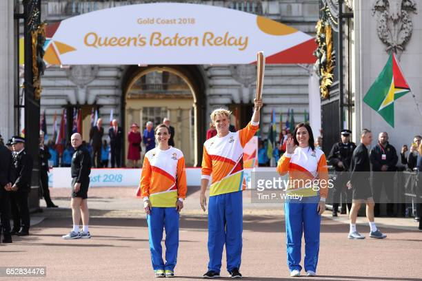 Victoria Pendleton Cody Simpson and Anna Meares carry the baton at the launch of The Queen's Baton Relay for the XXI Commonwealth Games at Buckingham...