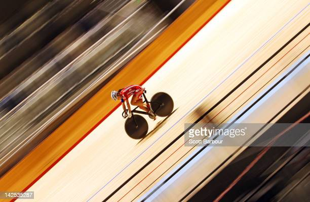Victoria Pendleton in action during a Great Britain track cycling training session ahead of the 2012 UCI World track Championships at Hisense Arena...