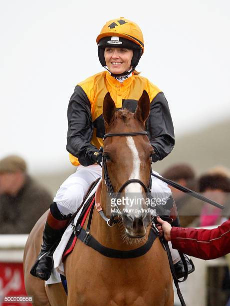 Victoria Pendleton in the parade ring prior to riding 'According to Sarah' in the Ladies Open during the Barbury Castle Point to Point at Barbury...