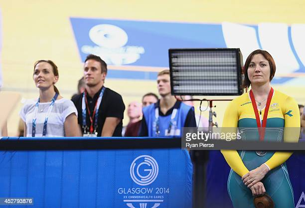 Victoria Pendleton of England and Anna Meares of Australia look on at Sir Chris Hoy Velodrome during day four of the Glasgow 2014 Commonwealth Games...