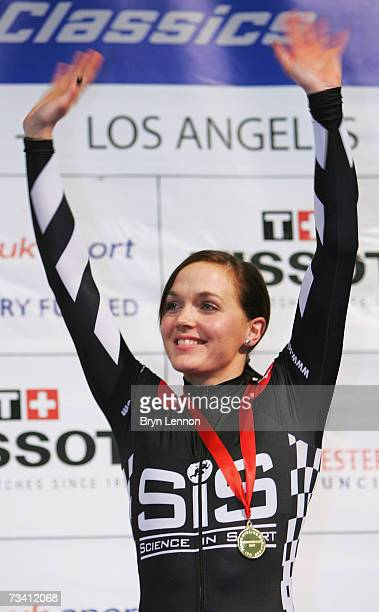 Victoria Pendleton of Great Britain and Sport in Science celebrates winning the 500m Time Trial during the UCI Track Cycling World Cup Classic at the...