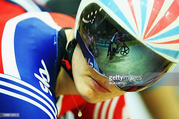 Victoria Pendleton of Great Britain and Team GB keeps and eye on team mate Jessica Varnish at the start of qualifying for the Women's Keirin on day...