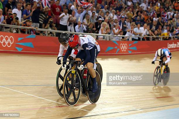 Victoria Pendleton of Great Britain beats Shuang Guo of China to the finish line in the Women's Keirin Track Cycling final on Day 7 of the London...