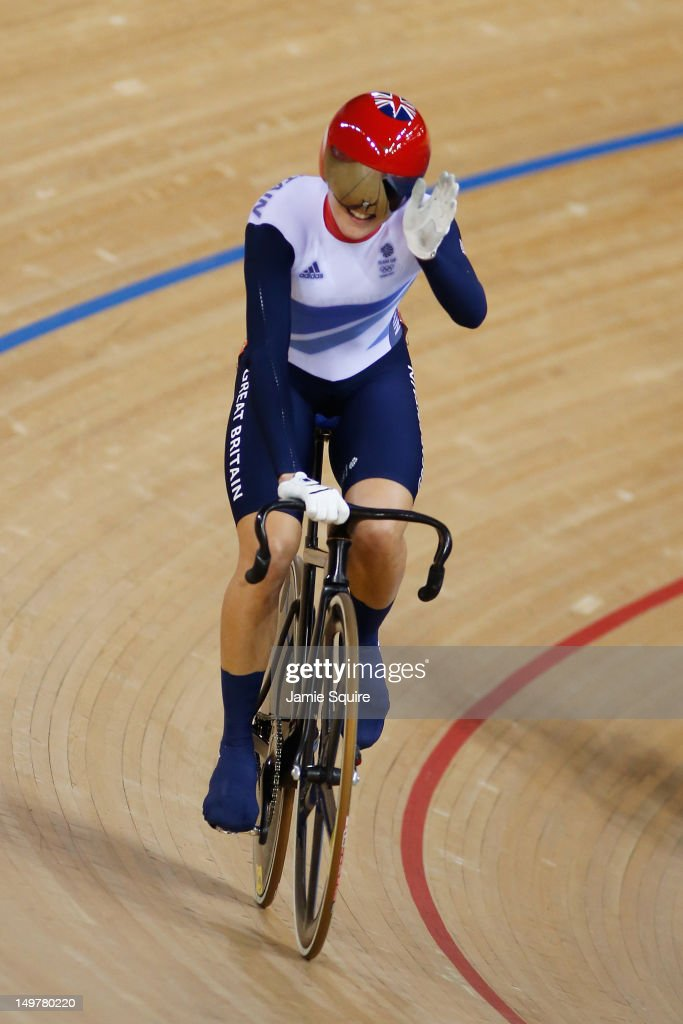 Victoria Pendleton of Great Britain celebrates after qualifying in her heat during the Women's Keirin Track Cycling first round on Day 7 of the London 2012 Olympic Games at Velodrome on August 3, 2012 in London, England.